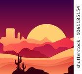 mexican desert in gradient... | Shutterstock .eps vector #1061185154