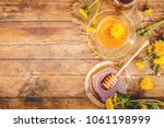 honey from dandelion and a cup...   Shutterstock . vector #1061198999