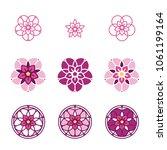 pink stylized flower logo.... | Shutterstock .eps vector #1061199164
