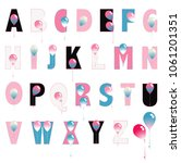 balloon font in shades of pink    Shutterstock .eps vector #1061201351