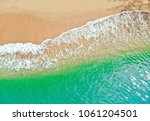 emerald green sea and orange... | Shutterstock . vector #1061204501