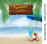 summer holiday background with... | Shutterstock .eps vector #1061215151