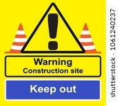 warning sign next to caution... | Shutterstock .eps vector #1061240237