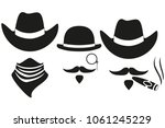 black and white 3 western... | Shutterstock .eps vector #1061245229