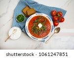 traditional soup borsh on... | Shutterstock . vector #1061247851