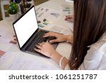 business women analyzing... | Shutterstock . vector #1061251787