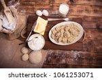 tasty pelmeni or manti on... | Shutterstock . vector #1061253071