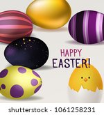 happy easter background with... | Shutterstock .eps vector #1061258231