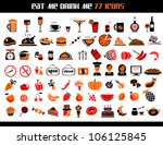 77 food and drink icons set for ... | Shutterstock .eps vector #106125845