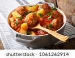 hot stew meatball soup with... | Shutterstock . vector #1061262914