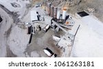 Aerial shot Construction site workers as show Concrete Batching Plant for support ready-mix concrete to construction all works