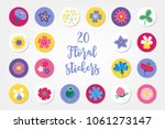 set of twenty summer stickers... | Shutterstock .eps vector #1061273147