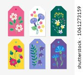 six summer gift tags with viola ... | Shutterstock .eps vector #1061273159