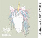 cute magical unicorn head. hand ... | Shutterstock . vector #1061275325