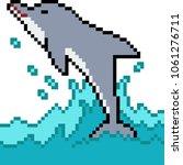 vector pixel art dolphin jump... | Shutterstock .eps vector #1061276711