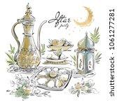 hand drawn ramadan eid iftar... | Shutterstock .eps vector #1061277281