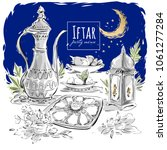 ramadan eid iftar party food... | Shutterstock .eps vector #1061277284