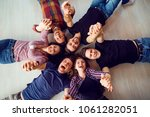 top view. a group of friends... | Shutterstock . vector #1061282051