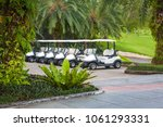 Image of Line of golf carts parked outside a club house ...