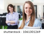 portrait of young businesswoman ... | Shutterstock . vector #1061301269