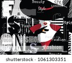 fashion woman in style pop art. ... | Shutterstock .eps vector #1061303351
