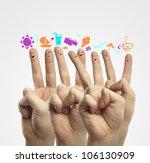 happy group of finger smileys... | Shutterstock . vector #106130909