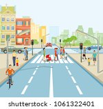 road junction with people and... | Shutterstock . vector #1061322401