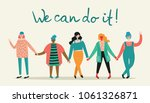 we can do it.  feminine concept ... | Shutterstock .eps vector #1061326871