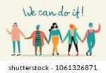 we can do it.  feminine concept ... | Shutterstock .eps vector #1061326871