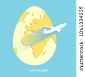 easter egg with yellow world... | Shutterstock .eps vector #1061334335