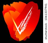 letter v  red and orange brush... | Shutterstock .eps vector #1061337941