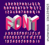 isometric alphabet font. three... | Shutterstock .eps vector #1061354825