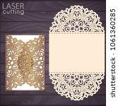 laser cut wedding invitation...   Shutterstock .eps vector #1061360285
