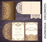 die laser cut wedding card... | Shutterstock .eps vector #1061360291