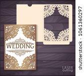 die laser cut wedding card...   Shutterstock .eps vector #1061360297