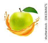 realistic apple with juice... | Shutterstock .eps vector #1061364671
