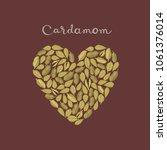 cardamom pods in a heart...   Shutterstock .eps vector #1061376014