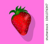 strawberry with stalk and... | Shutterstock .eps vector #1061376347