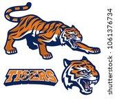 mascot tiger crouching in set   Shutterstock .eps vector #1061376734