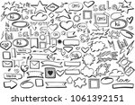 vector set with hand drawn... | Shutterstock .eps vector #1061392151