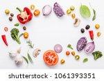 various fresh vegetables and... | Shutterstock . vector #1061393351