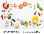 various fresh vegetables and... | Shutterstock . vector #1061393357