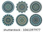 set of 6 mandalas painted in... | Shutterstock .eps vector #1061397977
