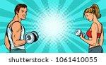 fitness sports background  man... | Shutterstock .eps vector #1061410055