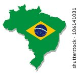 map of brazil with flag | Shutterstock .eps vector #106141031