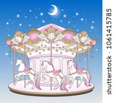 Merry Go Round With Horses Ove...