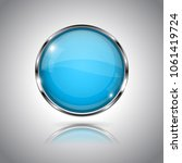 blue round glass button. 3d... | Shutterstock .eps vector #1061419724