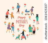 happy mothers day. vector... | Shutterstock .eps vector #1061425337