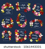 save the date flowers and name... | Shutterstock .eps vector #1061443331