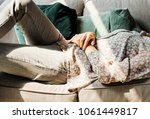 young woman lying on the couch | Shutterstock . vector #1061449817